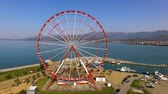 batumi : Ferry wheel with astounding sea view, lazy morning at amusement park in Georgia