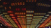 led panel : Beautiful glowing LED illumination at amusement park, electricity, close-up Stock Footage