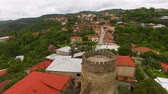 остатки : Aerial panoramic view of medieval fortress and houses in Sighnaghi town, Georgia