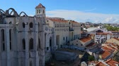 deprem : View of Gothic Carmo Church and Convent in Lisbon, ruined by earthquake, history