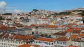 lisboa : View if rich infrastructure of Lisbon with snow-white houses with red roofs