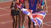 церемония : Athletes from England won trophies in sports competition, celebrating success Стоковые видеозаписи