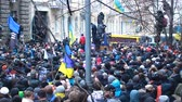 berkut : Huge cluster of Ukrainian demonstrators trying to move forward on blocked street Stock Footage
