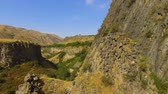 colunata : View of stony basalt rocks and deep gorge, Armenia landscape, ecotourism