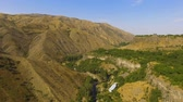 basalto : Majestic mountain ranges and green hills, Caucasus nature, travel to Armenia Stock Footage