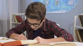 workbook : Genius boy in glasses doing homework task, writing answers in notebook, essay Stock Footage