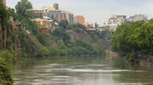 effluent : View of polluted water of Kura river from Metekhi Bridge in Tbilisi, sequence Stock Footage