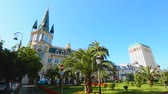 sekans : Beautiful architecture and green park on Europe Square in Batumi center, Georgia