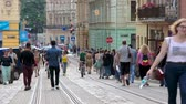 main street : People enjoying vacation and walking in city center, summer vacation and tourism