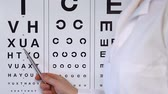jaskra : Eye doctor pointing at letters for spelling to person at medical examination Wideo