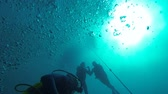 diving equipment : Divers swimming underwater intending to rise to surface, air bubbles in water
