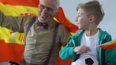 podporující : Excited small boy with grandpa watching football match, fans waving Spain flag