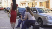 liar : Fat woman angry at boyfriend looking at pretty lady passing by street, conflict