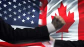 confrontatie : US vs Canada confrontation, countries disagreement, fists on flag background