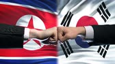 resistenza : North Korea vs South Korea conflict, fists against flag background, diplomacy