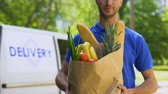 furgone : Young deliveryman showing grocery bag, store service, online order shipment Filmati Stock