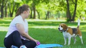 štěně : Pretty young woman sitting in park on lawn and playing with dog, relaxation