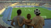 supporteur : Football fans jumping at stadium, friends cheering victory of favorite team
