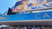 dziennikarz : CANNES, FRANCE - CIRCA MAY 2018: 71st Cannes Film Festival. International Cannes film festival sign on building entrance, award ceremony