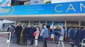 кинозвезды : CANNES, FRANCE - CIRCA MAY 2018: 71st Cannes Film Festival. Cannes film festival visitors in queue, famous annual culture event in France. Стоковые видеозаписи