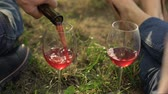 каберне : Adult couple at picnic drinking wine, family traditions winery, close up