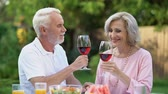 everlasting : Old couple celebrating anniversary, drinking wine, everlasting love relations