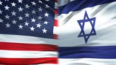 ministers : United States and Israel flags background, diplomatic and economic relations