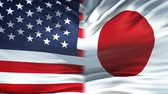 ministers : United States and Japan flags background, diplomatic and economic relations