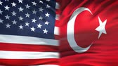 ministers : United States and Turkey flags background, diplomatic and economic relations
