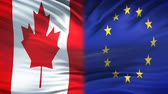 globalizace : Canada and European Union flags background, diplomatic and economic relations