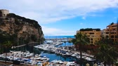 fontvieille : Luxury port Hercule in Monte Carlo, beautiful expensive yachts and boats, travel Stock Footage