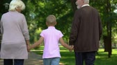 bem estar : Old couple walking with boy in park, holding hands, adoption social support