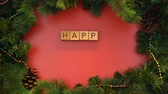stopmotion : Happy New Year phrase made of cubes, holidays celebration, eastern calendar Stock Footage