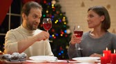 miracolo : Loving couple drinking wine on Christmas eve, loving relations, happy marriage