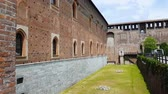 бастион : Cannonballs in front of Sforza Castle, Milan, preserved historical attraction Стоковые видеозаписи