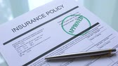 accepted : Insurance policy document approved, hand stamping seal on official paper closeup Stock Footage