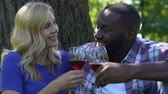saúde : Beautiful mixed race couple relaxing, drinking wine and enjoying picnic in park