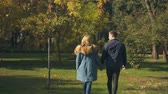 estilos de vida : Back view of couple holding hands and walking, bright future, togetherness