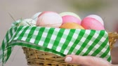farba : Little kid taking basket full of colorful Easter eggs from mother hands, family Wideo
