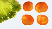 inspeção : Processing tomatoes and lettuce with light, quality control, disinfection Stock Footage