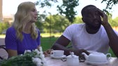 blind : Uninterested african-american male trying to ignore female, blind date fail