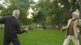 humorvoll : Funny male friends fighting with walking sticks in park, pretending be knights Stock Footage