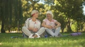 érettség : Two women showing thumbs up sitting on grass after doing exercises, positive
