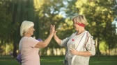пять : Two women friends meeting before workout in park and giving high five each other