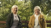 wandelstok : Happy aged women raising up walking sticks, sitting on bench, winner gesture