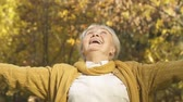 晴れた : Excited elderly woman throwing yellow leaves, enjoying autumn nature in park