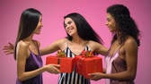 parabéns : Women giving presents to friend and hugging, having fun at bridal shower, joy Vídeos