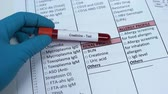 výsledek : Creatinine, doctor checking name in lab blank, showing blood sample in tube