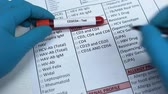 treatment : CD3, CD4, doctor checking names in lab blank, showing blood sample in tube