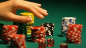 karty do gry : Females hand taking poker chip from table, casino bet, gambling addiction